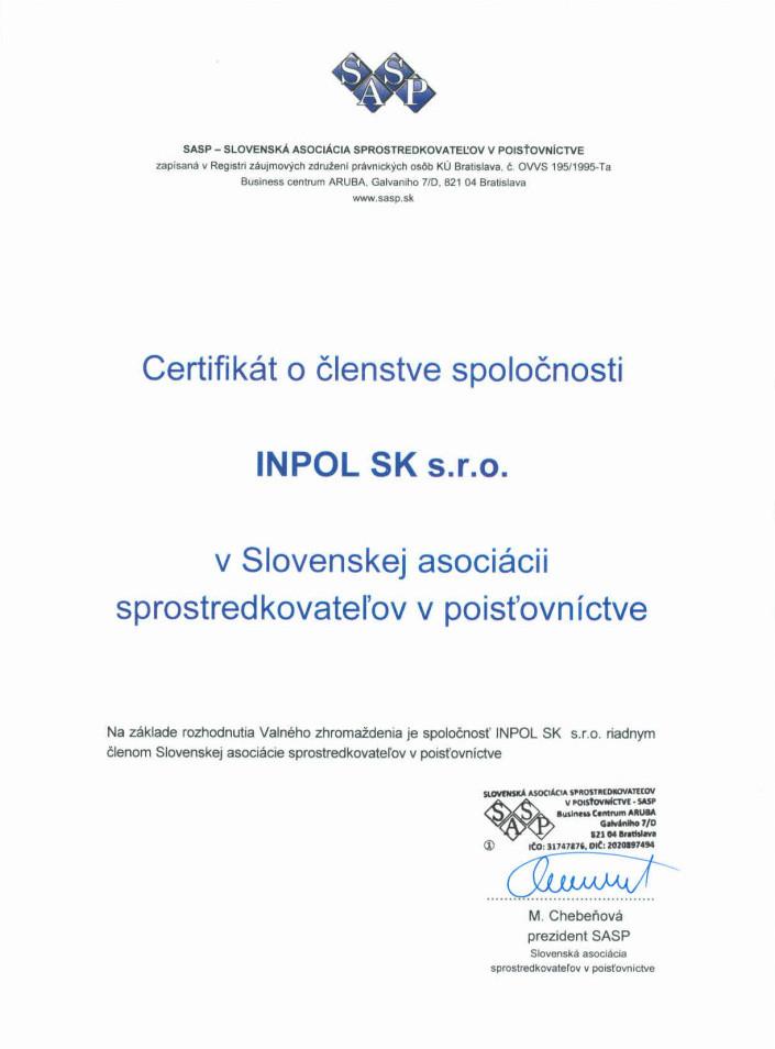 SASP certifikat